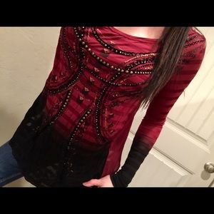 Miss me black/red ombré sheer embellished top S
